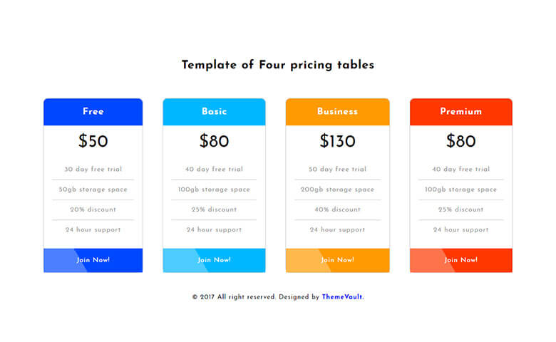 Responsive Four Pricing Table Free Template
