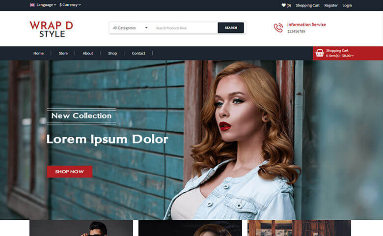 Wrap-d-Style - Online Store Website Template Free Download