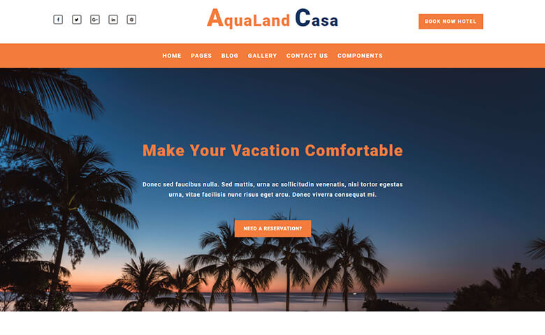 aqualand casa free travel company website template themevault