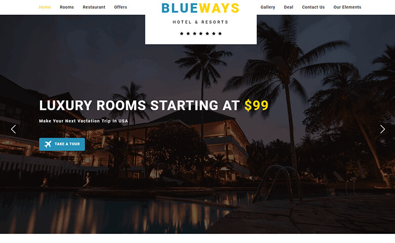 Blueways – Responsive HTMl5 Hotel Reservation Website Template