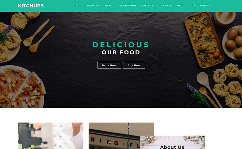 Kitchups - Responsive Free Restaurant Website Templates | ThemeVault