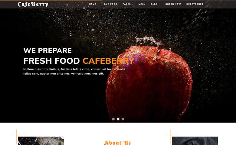 CafeBerry - Free HTML5 Restaurant Website Templates | ThemeVault