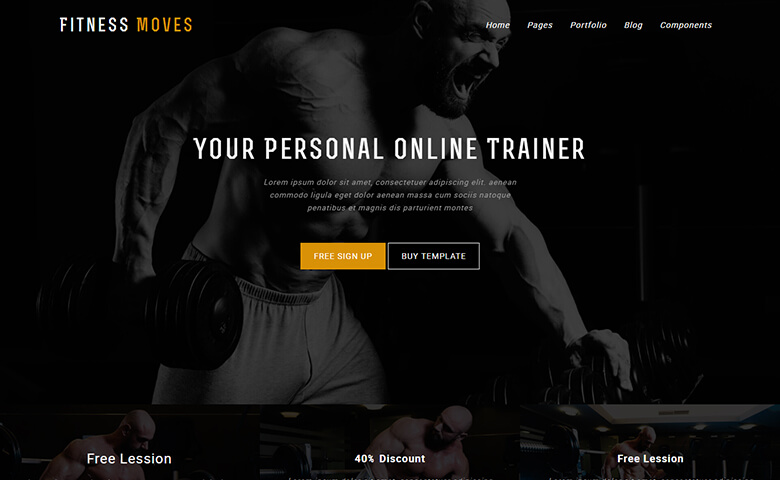 Fitnessmoves – Resposnive HTML5 Fitness Website Design Template