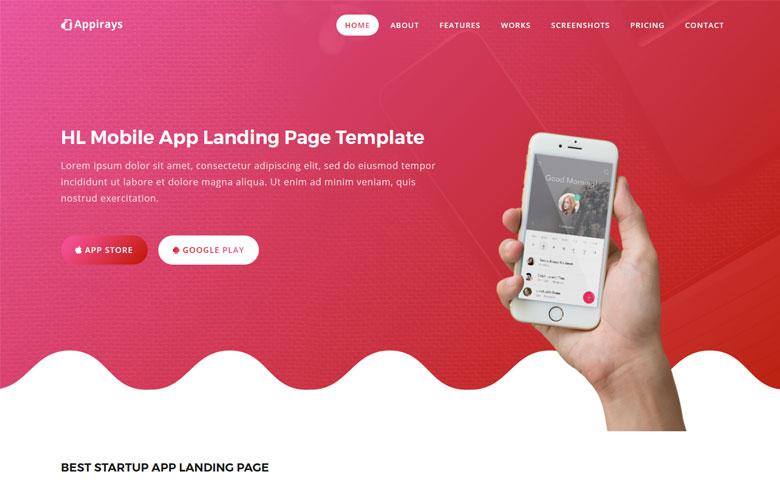 appirays free html5 app landing page design template themevault