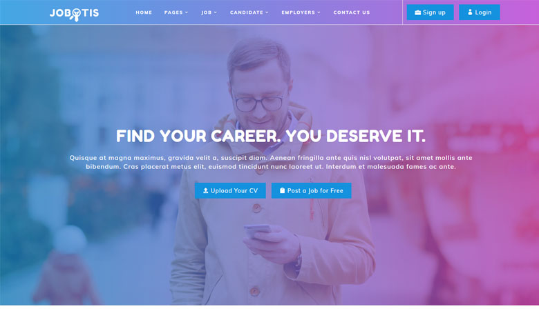 Jobotis online job portal html5 web design template - Online design jobs work from home ...