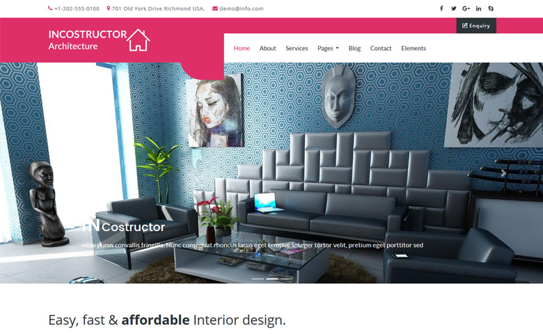 Incostructor - Interior Furniture Website Design Template