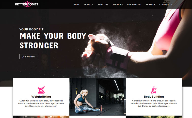BetterBodiez – Responsive Fitness Website Design Template