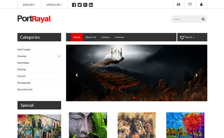 Portrayal – HTML5 Online Art Gallery Website Template | ThemeVault
