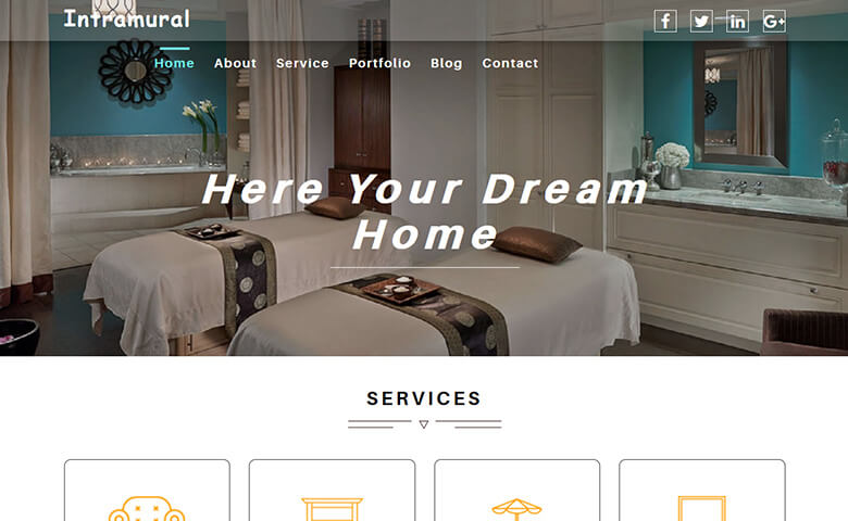 Intramural Free Interior Design Website Template Themevault