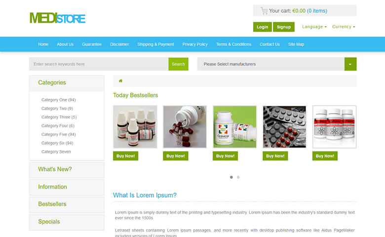 Medistore - Free Medical and Drug Store Website Template