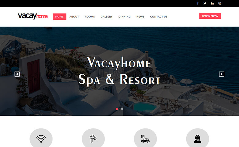 VacayHome- Free Resort and Hotel Website Template HTML5