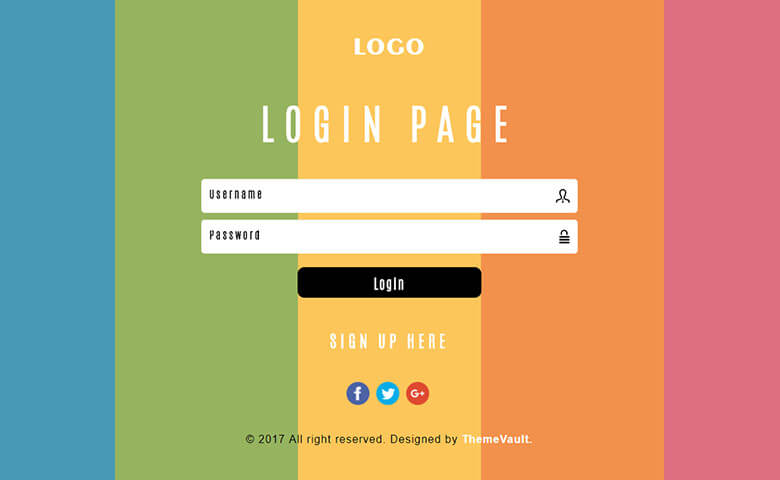 Awesome Colourful Login Form
