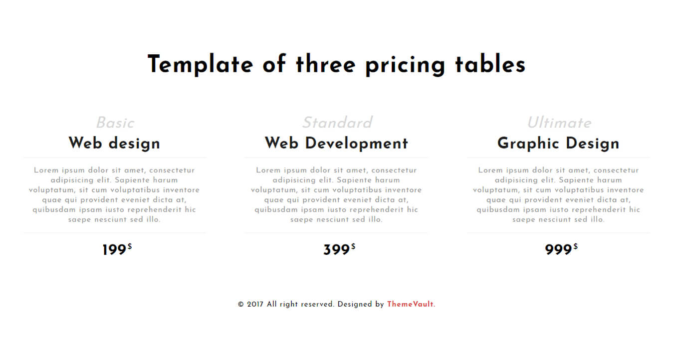 Responsive Standard Pricing Table Widget Template