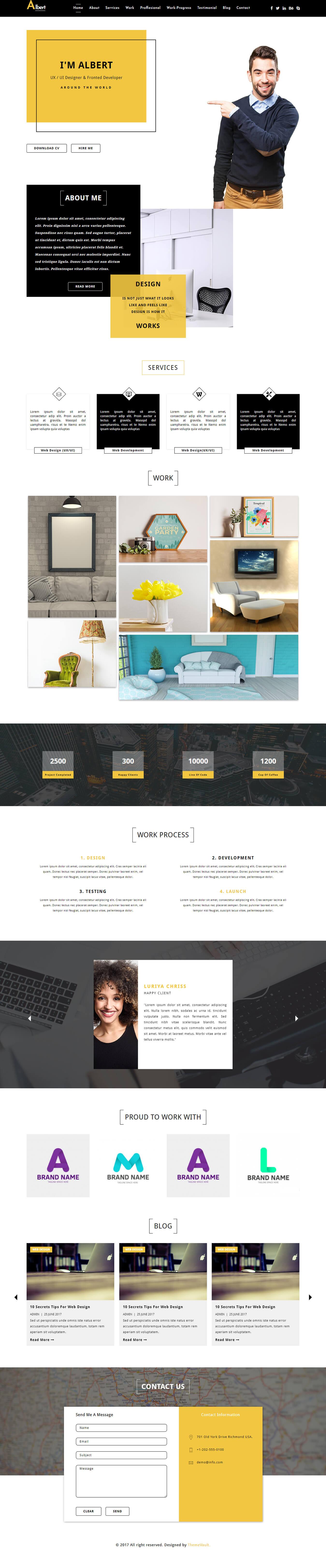 Albert – UX designer portfolio template HTML5