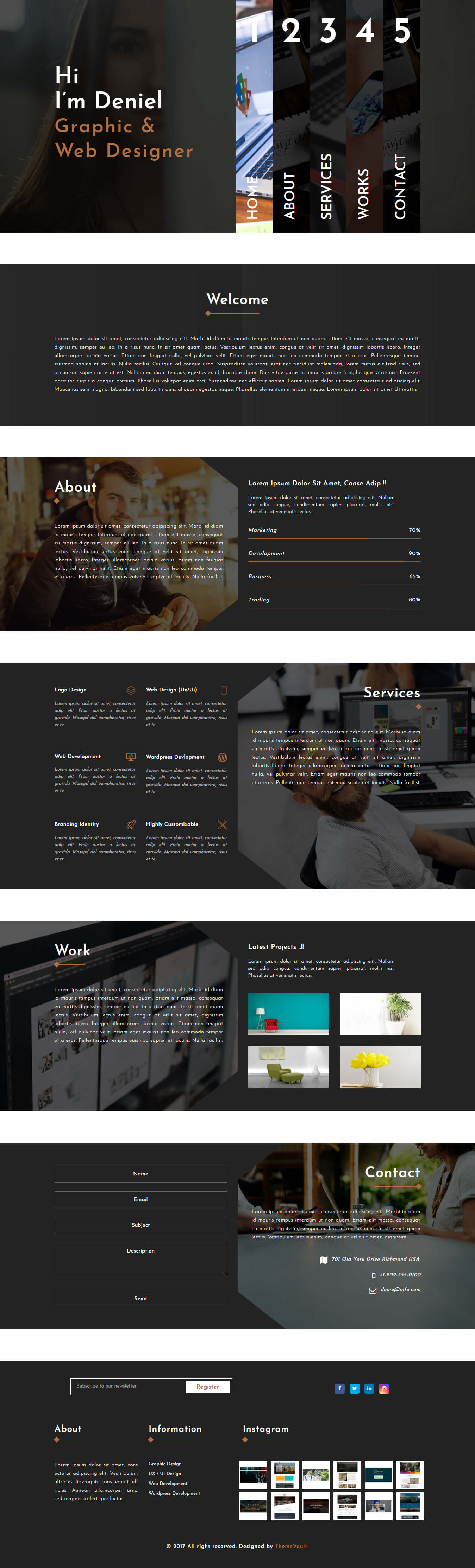 Deniel-Cruze – Single Page Portfolio Website Template Free