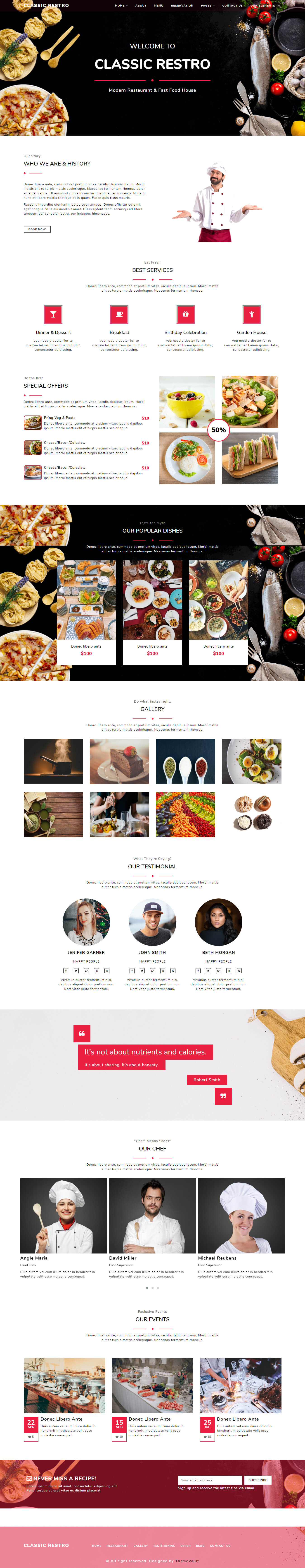 ClassicRestro – HTML5 Restaurant Menu Layout Template Free