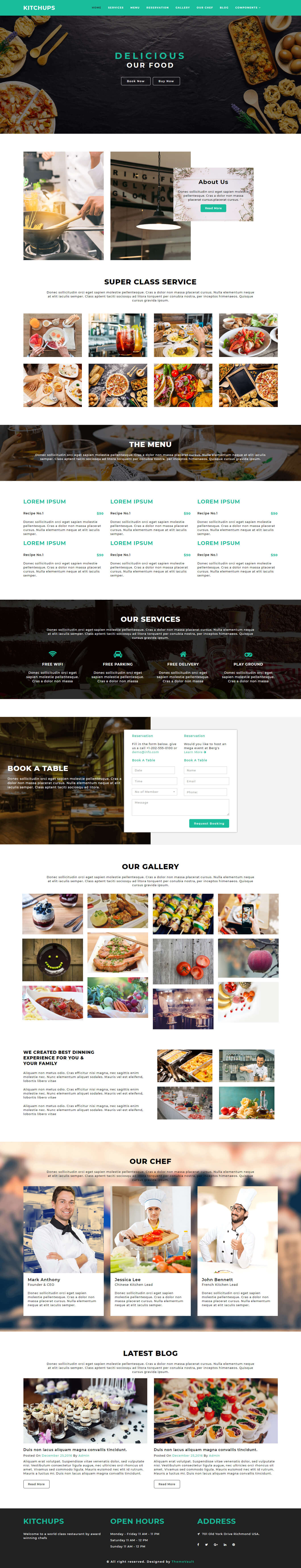 Kitchups –  Responsive Free Restaurant Website Templates HTML5