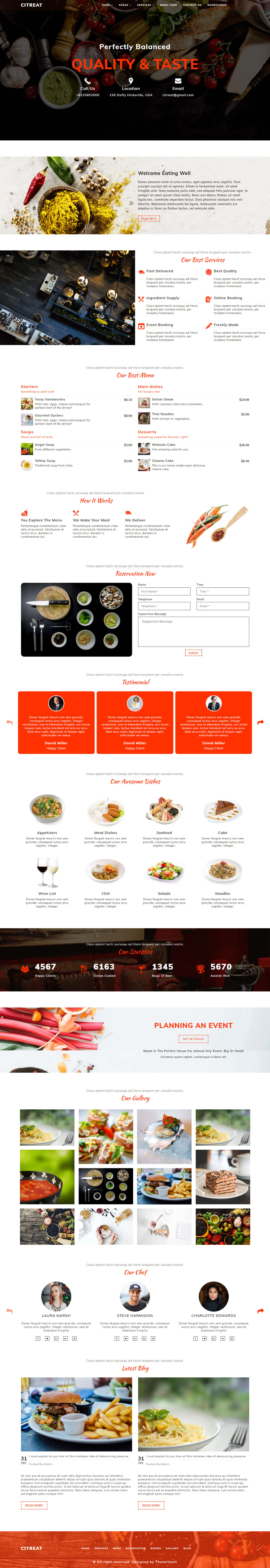 Citreat –  HTMl5 Restaurant Website Layout Template
