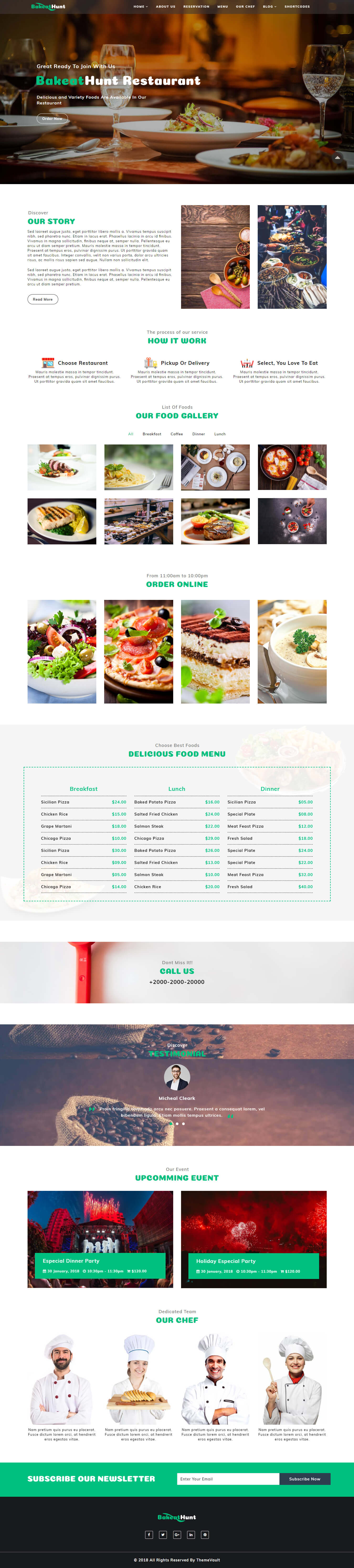 BakeatHunt – Best Restaurant Web Design Template HTML5