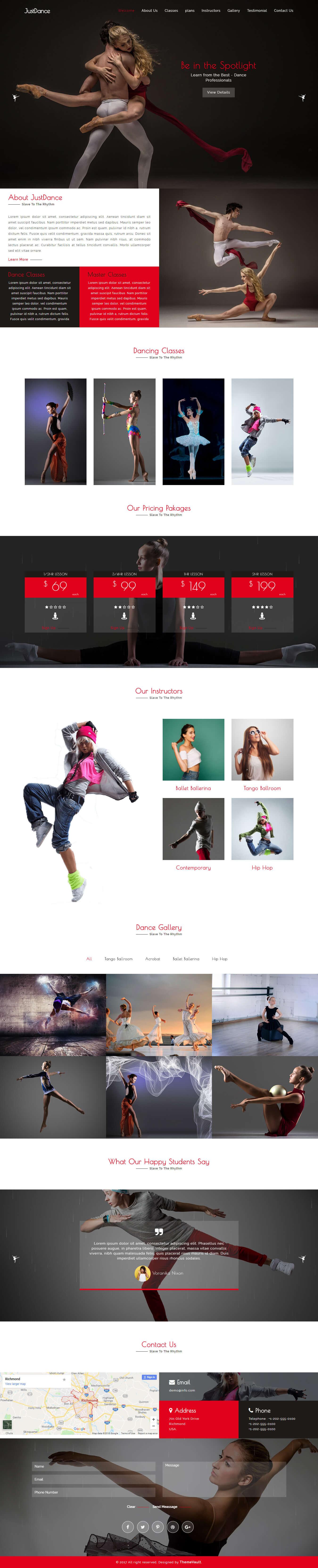 JustDance – HTML5 Dance Studio Website Template