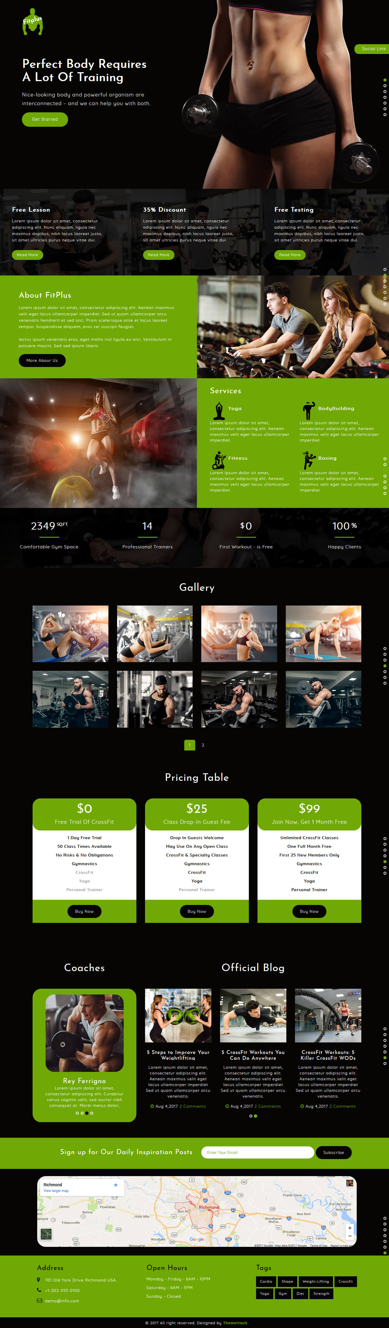 FitPlus – Free Gym Fitness Website Template Html5