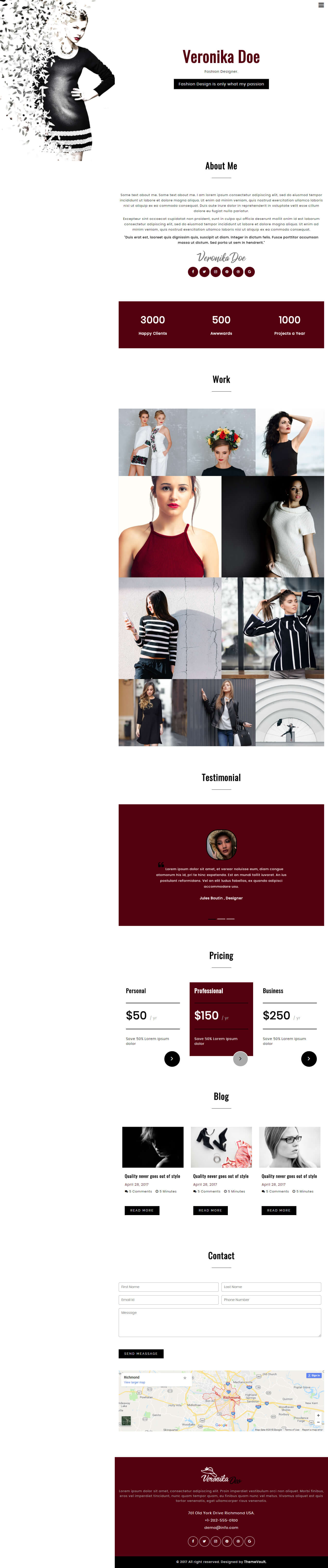 VeronikaDoe – Free Fashion Design Portfolio Template HTML5