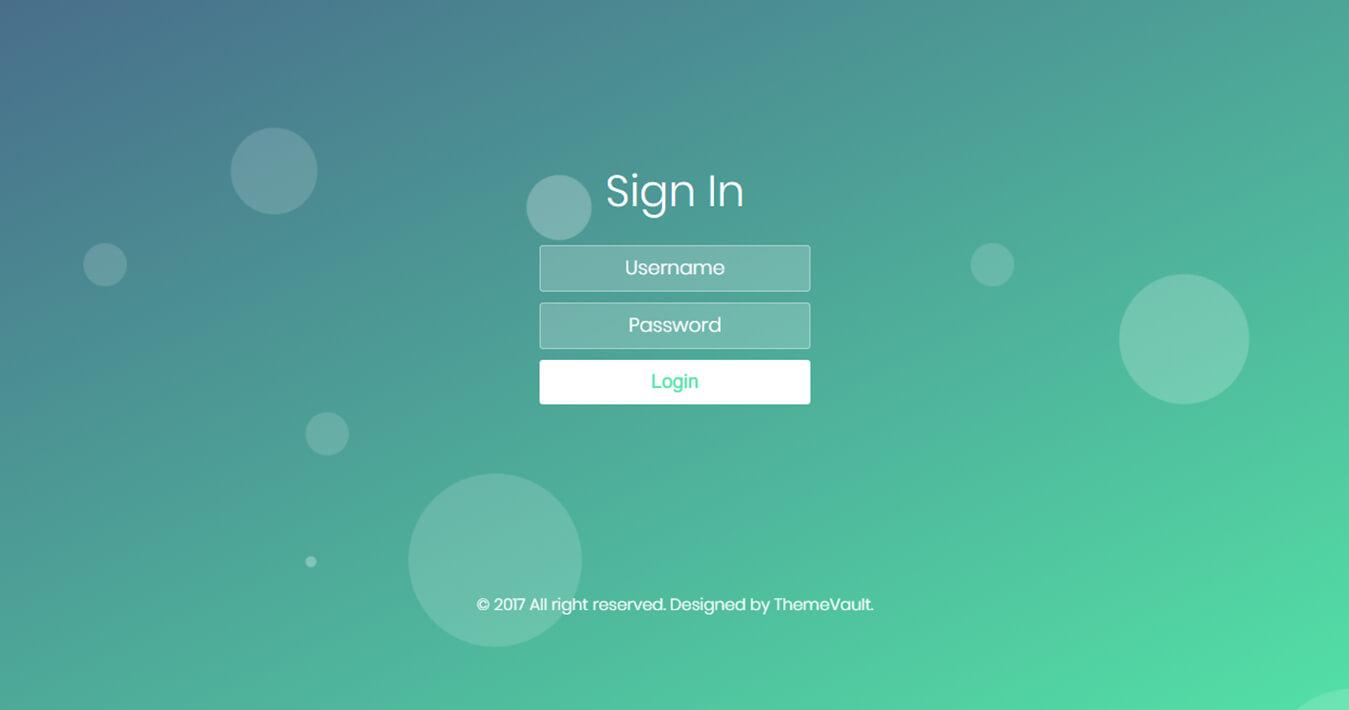 Bubble Login Form Free Responsive Widget