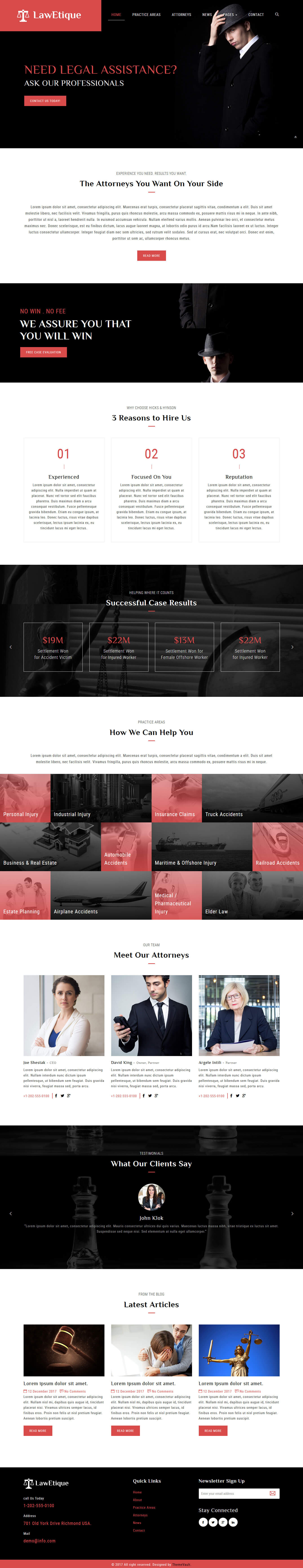 Lawetique - Best Lawyer Website Design Template Free Download