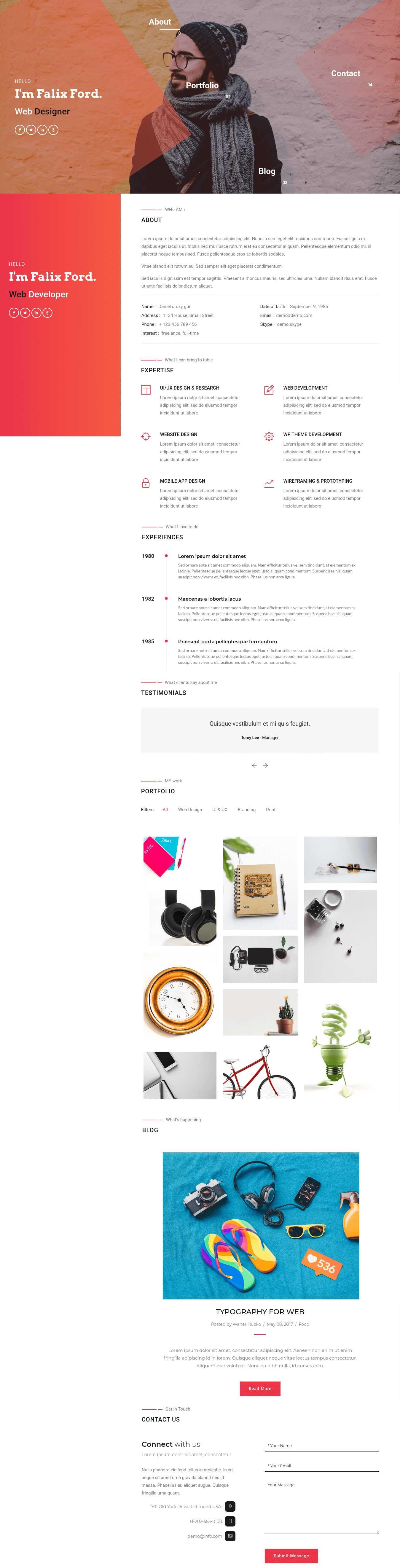 Falix-Ford – Mobile Web Developer Portfolio Website Template