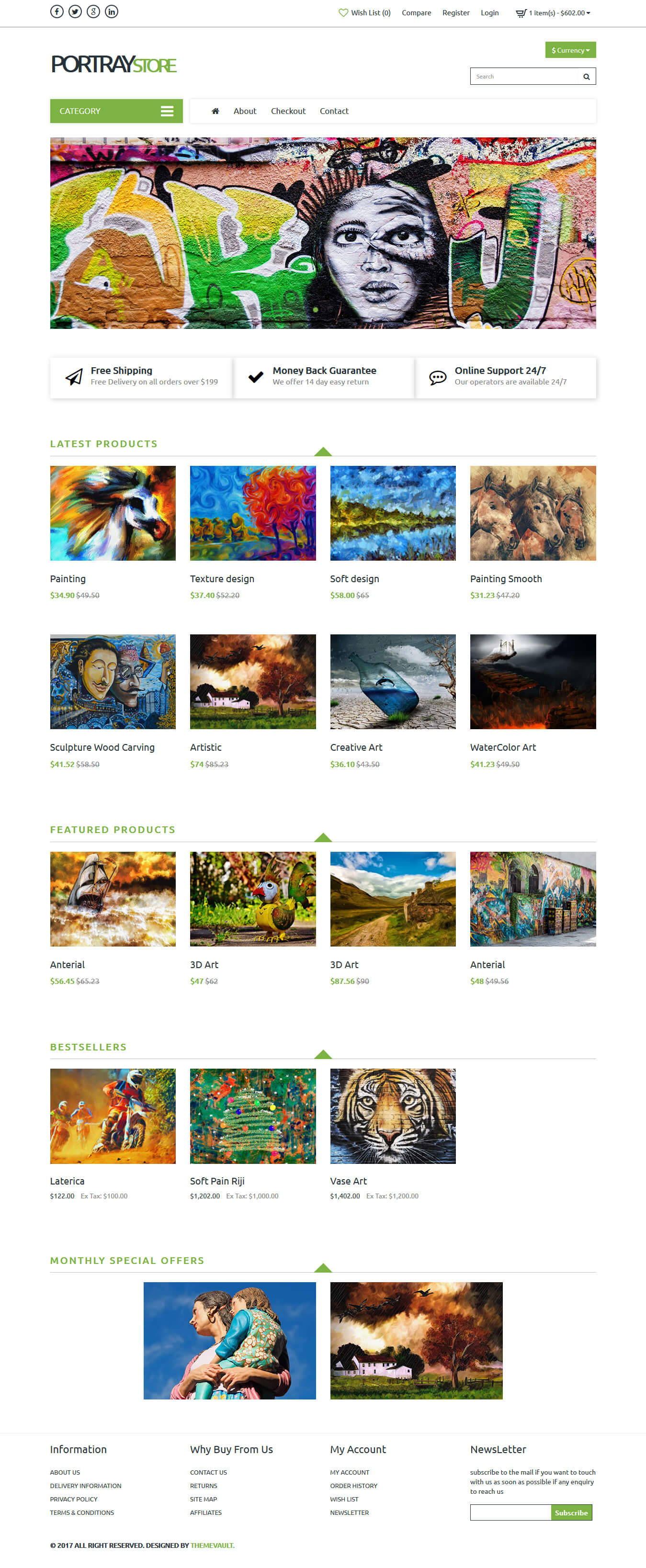 Portraystore – Responsive Art Gallery Website Design Template