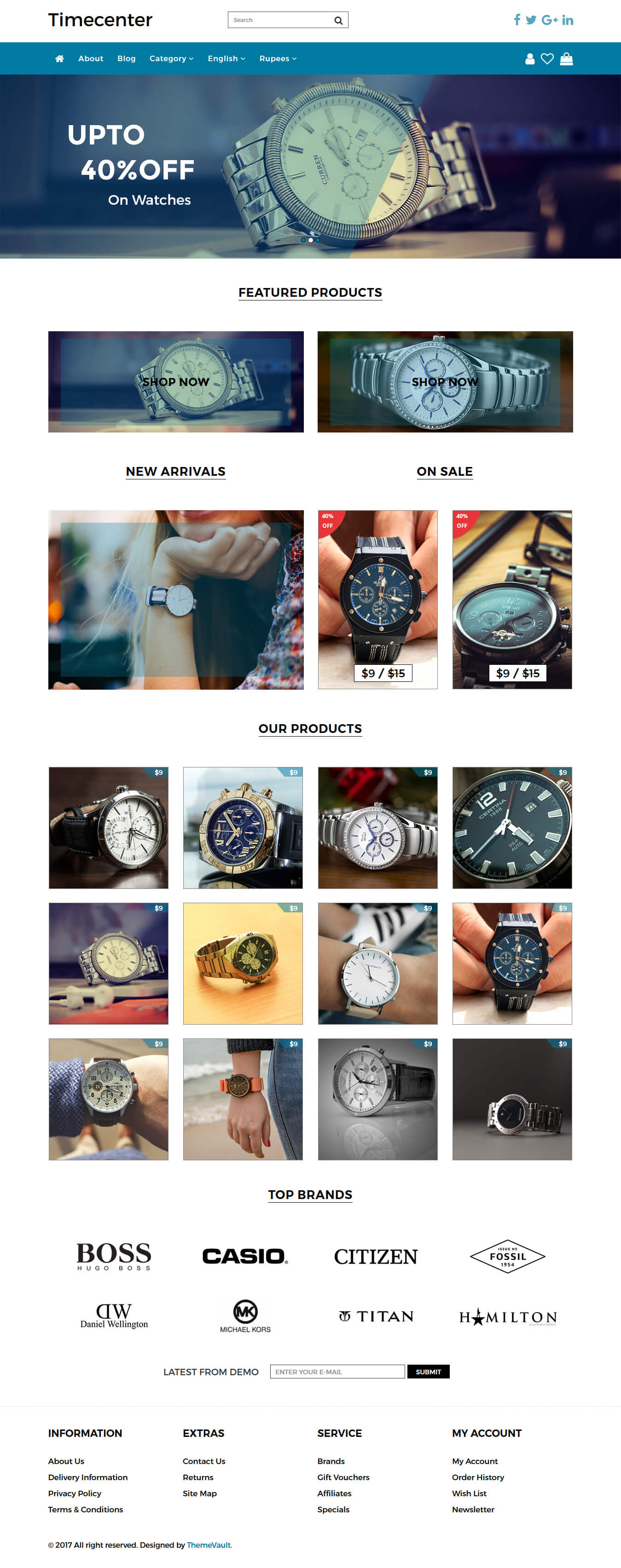 Timecenter – Responsive Watch Ecommerce Website Template