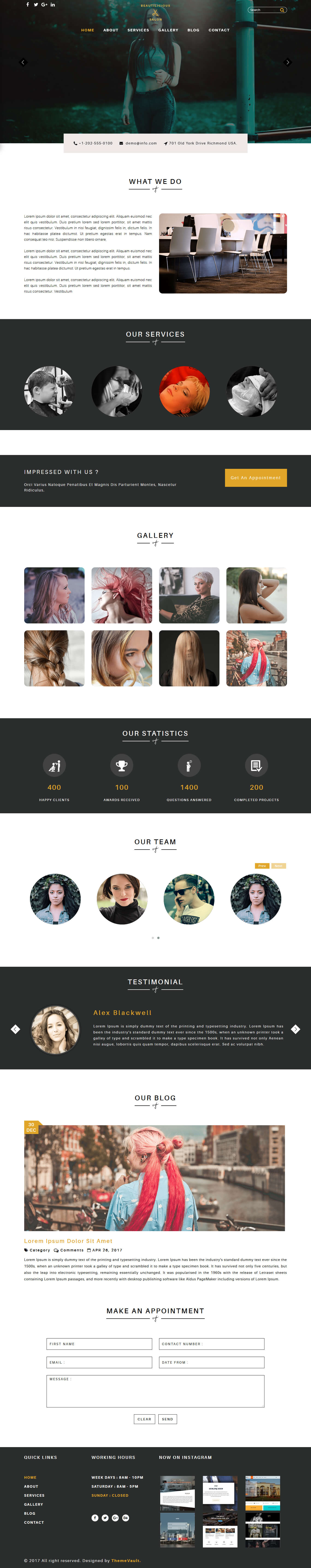 beautilicious free spa and salon website template themevault