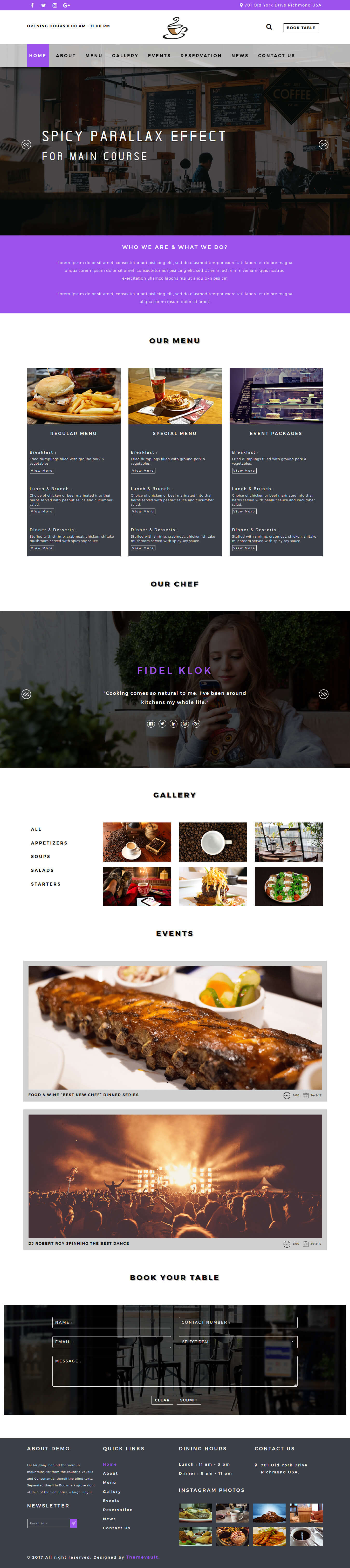 kafe responsive free coffee shop website template themevault. Black Bedroom Furniture Sets. Home Design Ideas
