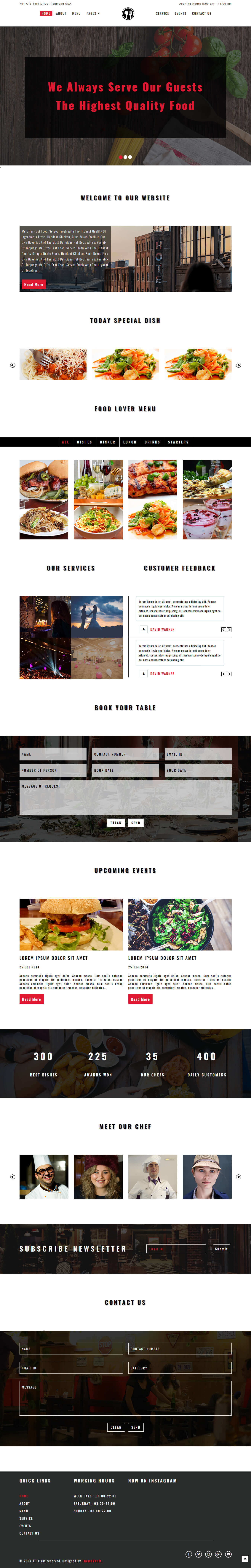 Foodeque – Free Responsive HTML5 Restaurant Website Templates