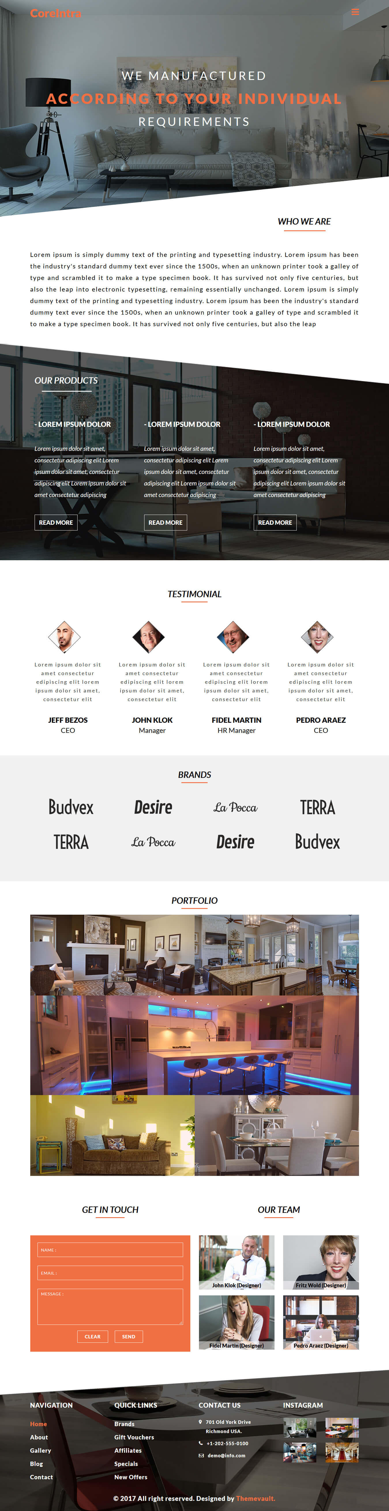Coreintra – Responsive Template For Interior Furniture Business