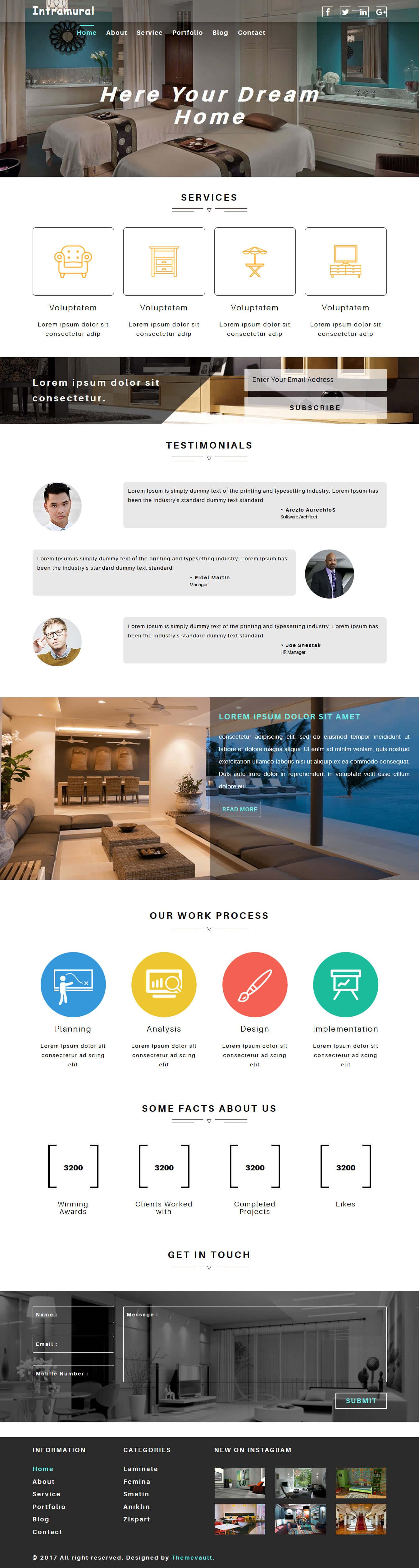 Intramural - Responsive Free Interior Design Website Template