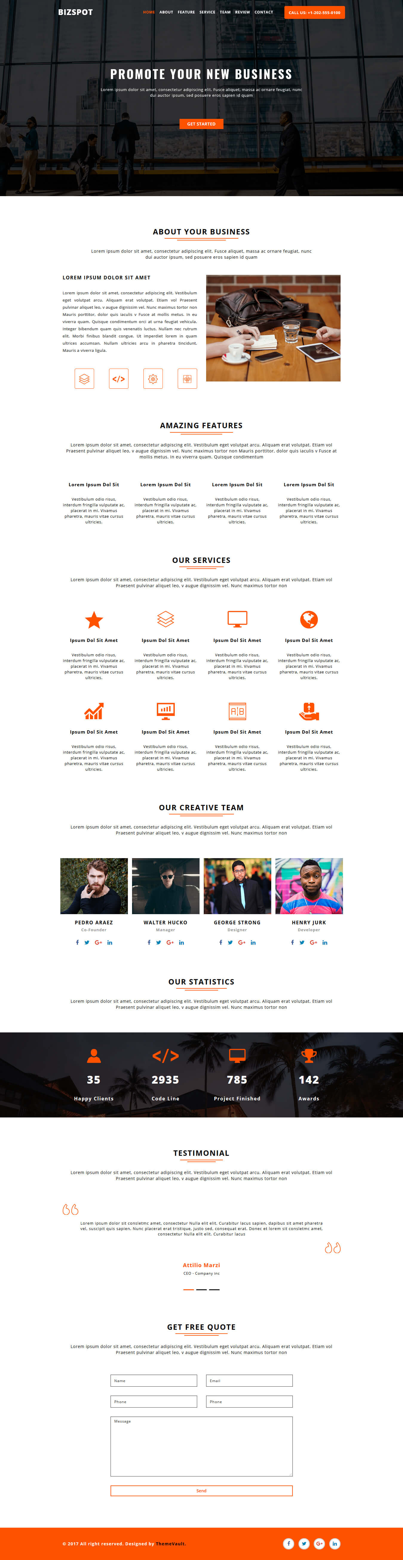 BizSpot- One Page Responsive HTML5 Website Template