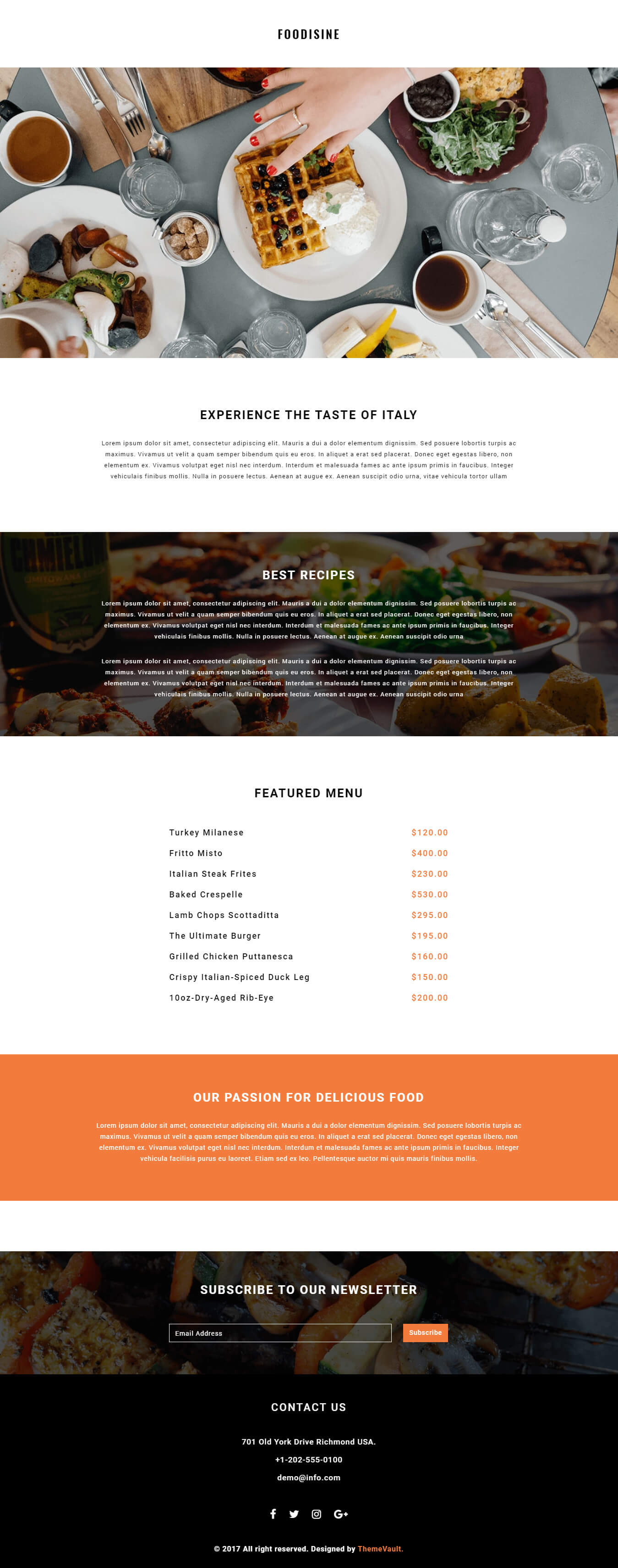 Foodisine Free Newsletter Design Templates Themevault