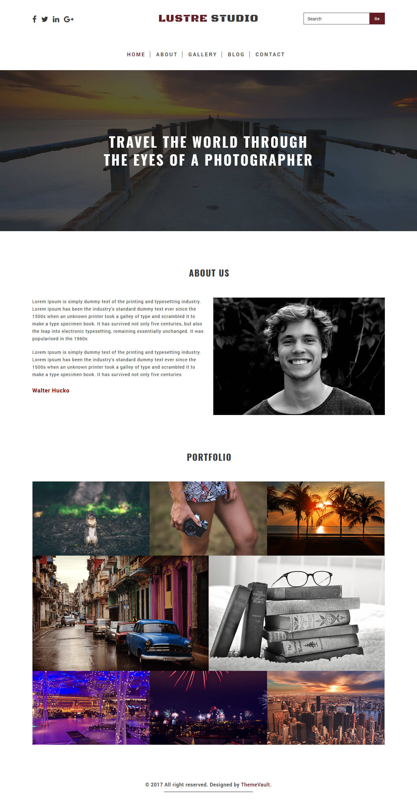 Luster studio free html photography website template for Free photography website templates