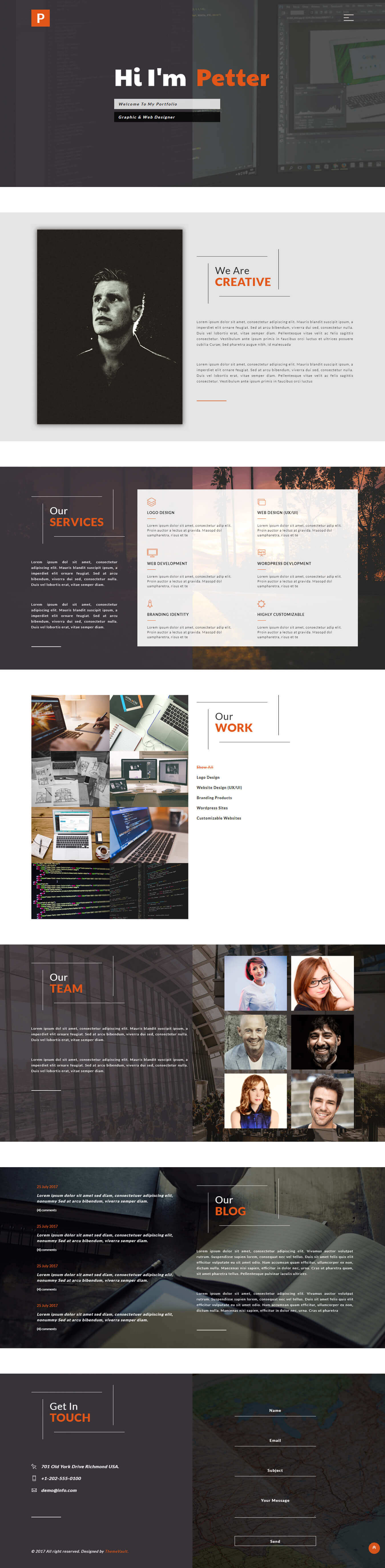 Petter - Graphic Design Portfolio Website Template HTML5 | ThemeVault