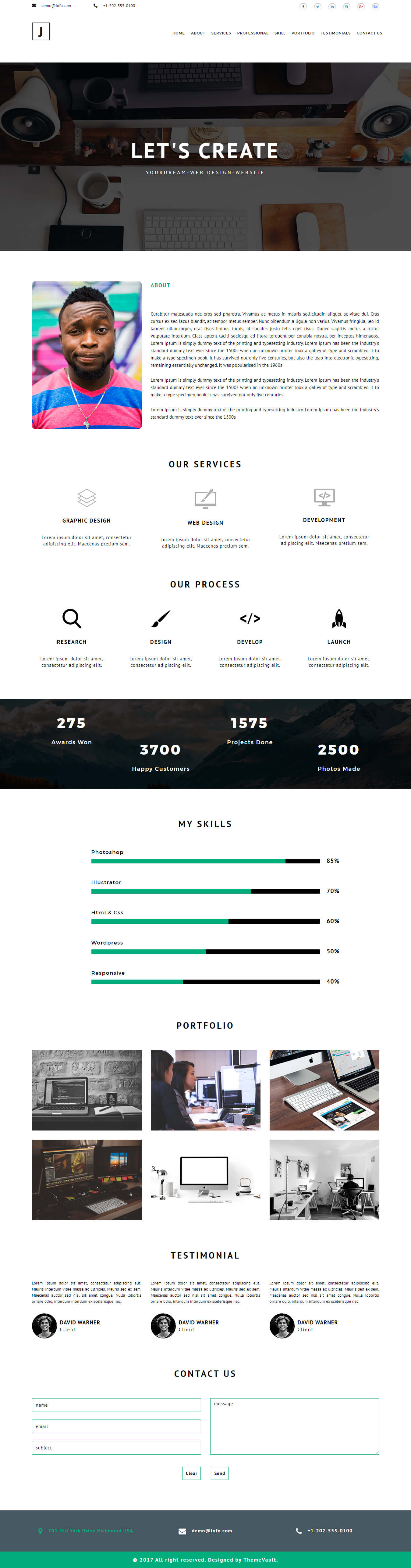 Justin-Kristiansen – web developer portfolio website template