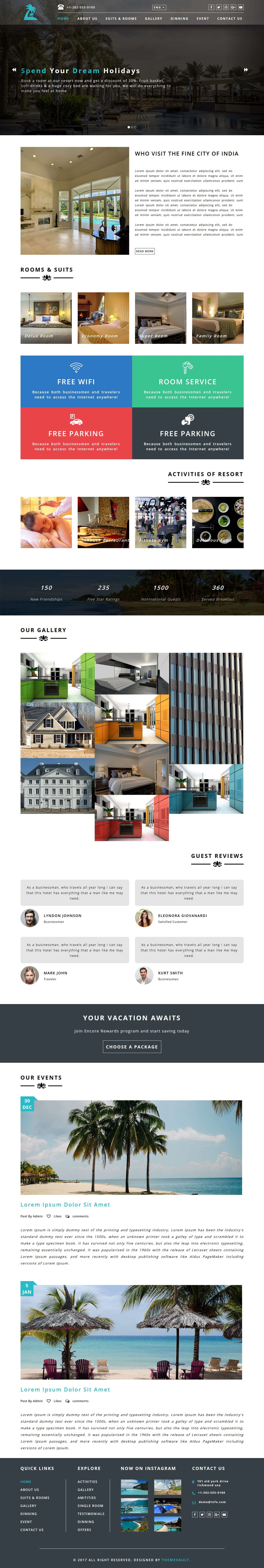 Resortono Responsive Hotel And Resort Website Template Themevault