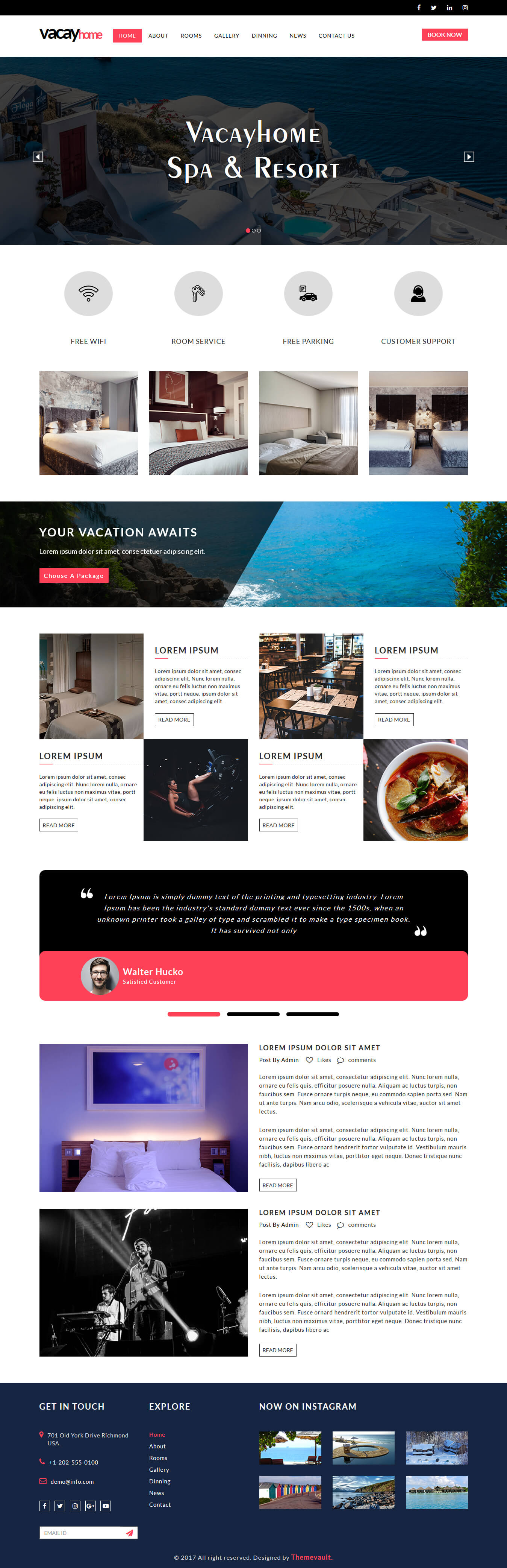 VacayHome - Free Resort And Hotel Website Template | ThemeVault