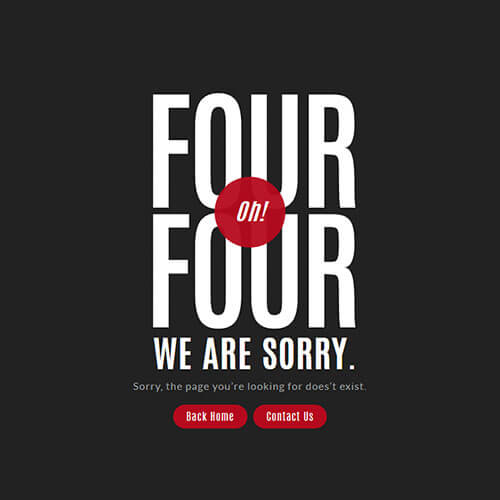 Red Highlighted 404 Error Page Template
