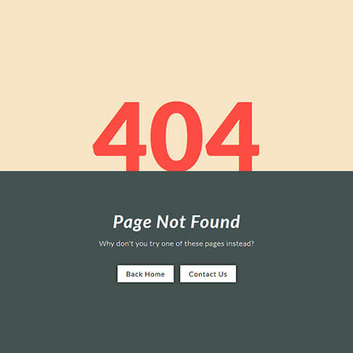 Simple looking 404 error page template
