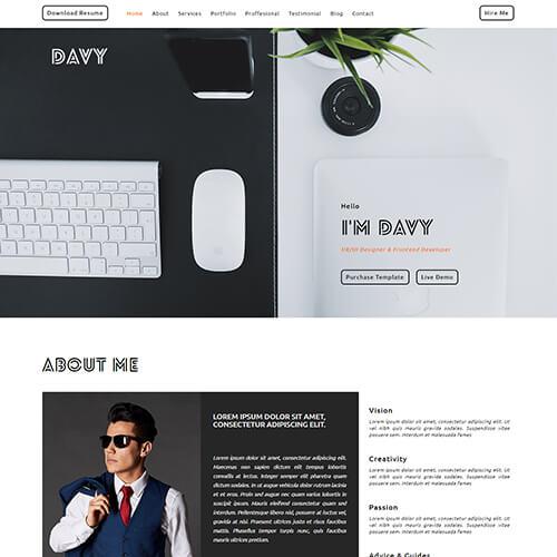 Davy-Del – Free Portfolio Website HTML Template