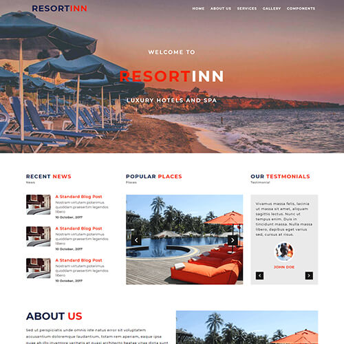 ResortIn – Responsive Free Resort Website Template HTML5
