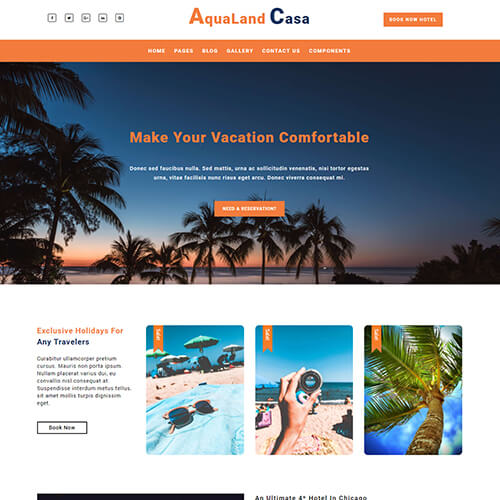 AquaLand Casa – Responsive Travel Company Website Template Free