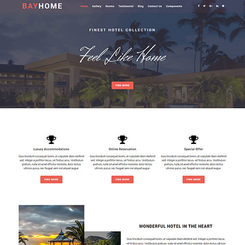 BayHome – One Page Travel Website Template Free Download