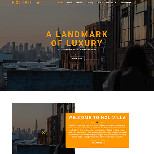HoliVilla – Free Responsive Hotel Website Template Html5